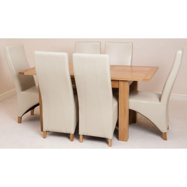 Hampton Solid Oak 120-160cm Extending Dining Table with 6 Lola Dining Chairs [Ivory Leather]