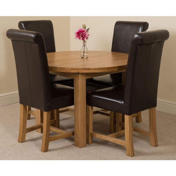 Edmonton Round Oak Dining Set with 4 Washington Brown Leather Chairs