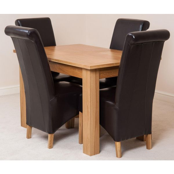 Hampton Solid Oak 120-160cm Extending Dining Table with 4 Montana Dining Chairs [Brown Leather]