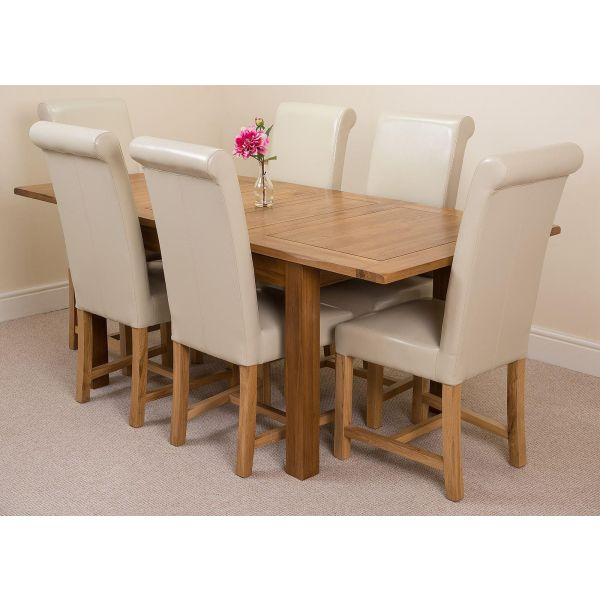 Cotswold Rustic Solid Oak 132cm-198cm Extending Farmhouse Dining Table with 6 Washington Dining Chairs [Ivory Leather]