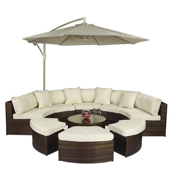 Monaco Rattan Garden Furniture [Semi Circle Sofa Set]