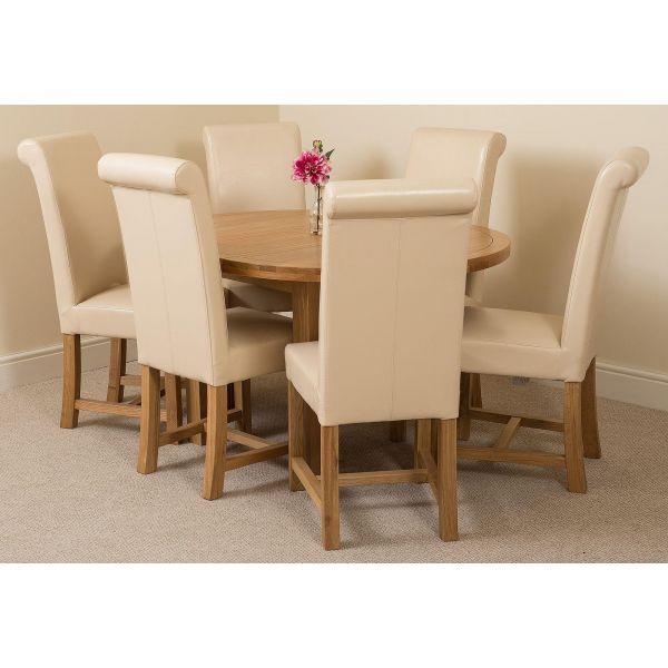 Edmonton Round Oak Dining Set with 6 Washington Ivory Leather Chairs