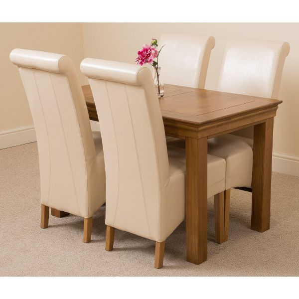 French Chateau Rustic Solid Oak 120cm Dining Table with 4 Montana Dining Chairs [Ivory Leather]