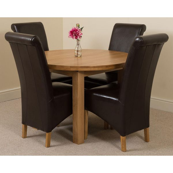 Edmonton Solid Oak Extending Oval Dining Table with 4 Montana Dining Chairs [Black Leather]