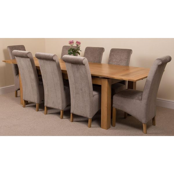Richmond Solid Oak 200cm-280cm Extending Dining Table with 8 Montana Dining Chairs [Grey Fabric]