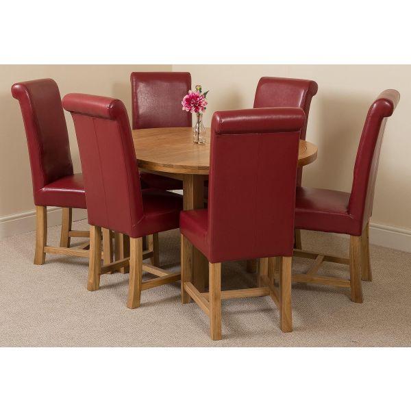 Edmonton Round Oak Dining Set with 6 Washington Burgundy Leather Chairs