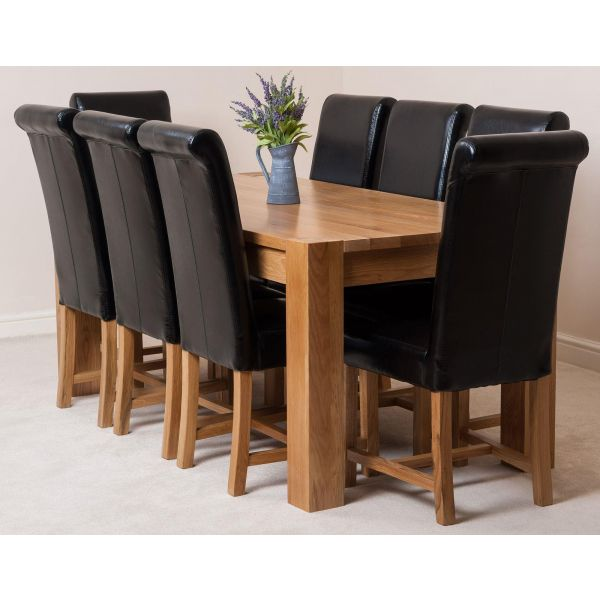 Kuba Solid Oak 180cm Dining Table with 8 Washington Dining Chairs [Black Leather]
