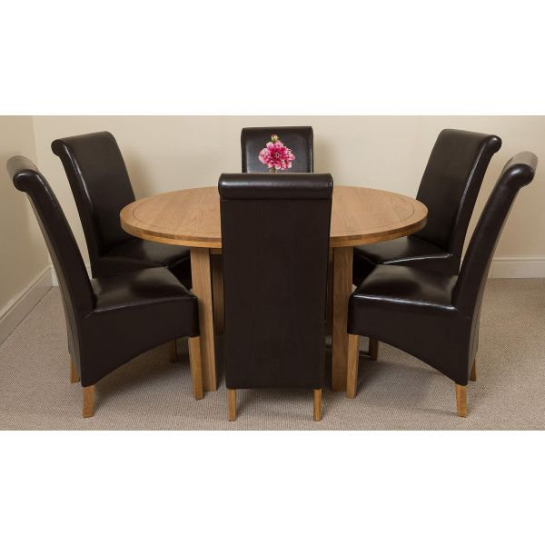 Edmonton Round Oak Dining Set with 6 Montana Black Leather Chairs