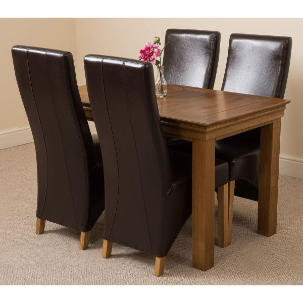 French Chateau Rustic Solid Oak 120cm Dining Table with 4 Lola Dining Chairs [Brown Leather]