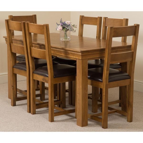 French Chateau Rustic Solid Oak 150cm Dining Table with 6 Lincoln Solid Oak Dining Chairs [Rustic Oak and Brown Leather]