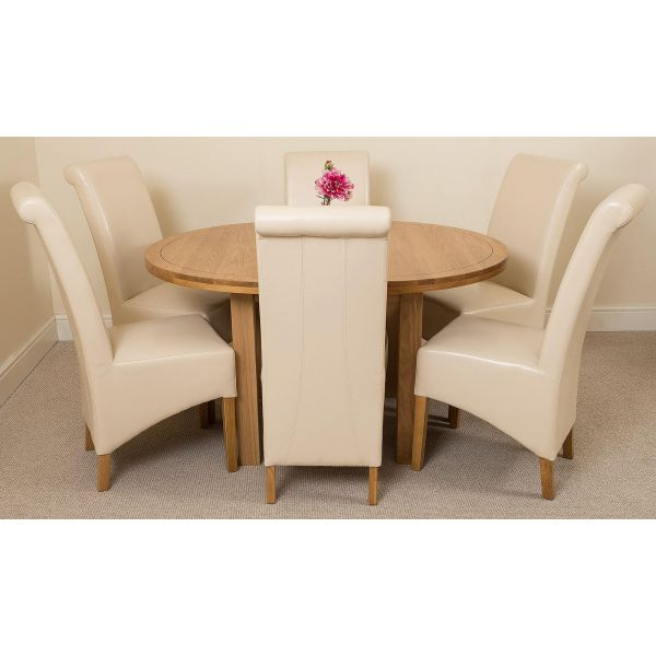 Edmonton Round Oak Dining Set with 6 Montana Ivory Leather Chairs