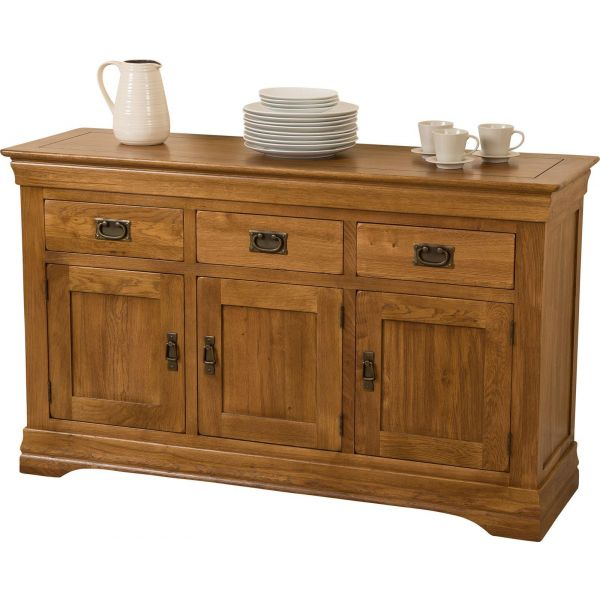 French Chateau Rustic Furniture Solid Oak Large Sideboard - Oak Furniture King