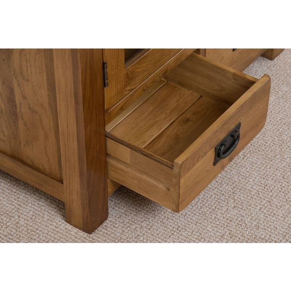 Cotswold Rustic Oak Display Cabinet - Bottom Drawer Open