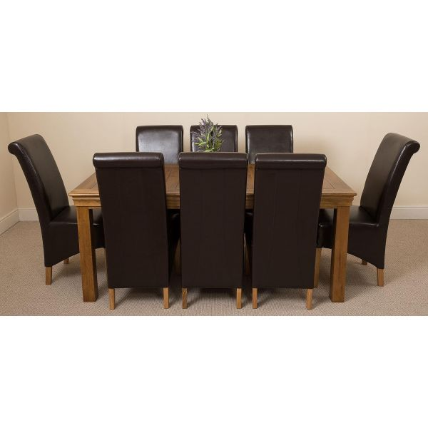 French Chateau Rustic Solid Oak 180cm Dining Table with 8 Montana Dining Chairs [Brown Leather]