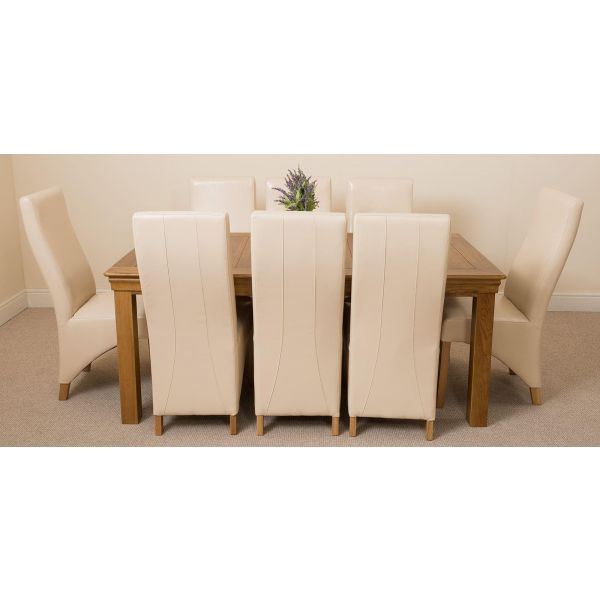 French Chateau Rustic Solid Oak 180cm Dining Table with 8 Lola Dining Chairs [Ivory Leather]