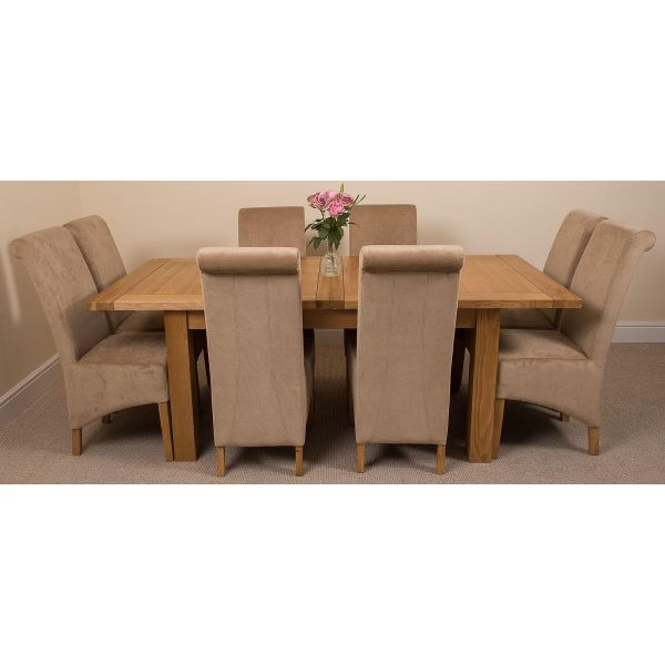 Seattle Solid Oak 150cm-210cm Extending Dining Table with 8 Montana Dining Chairs [Beige Fabric]