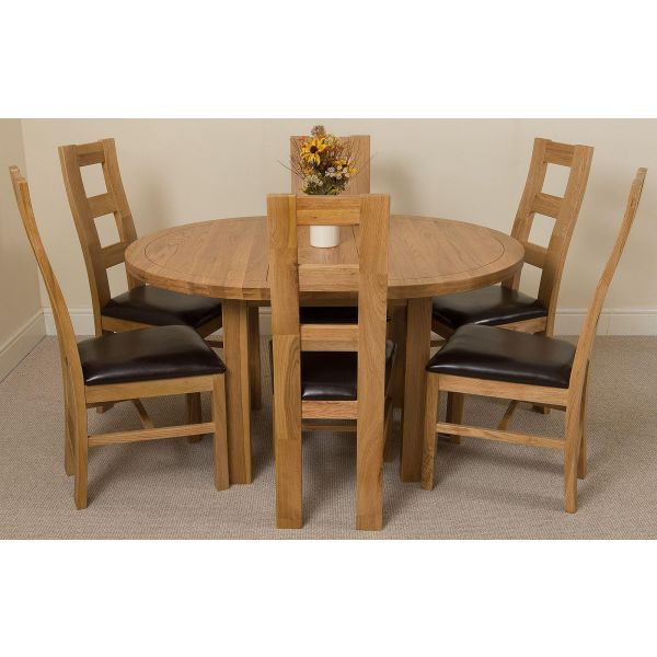 Edmonton Solid Oak 110-140cm Extending Oval Dining Table with 6 Yale Solid Oak Dining Chairs [Light Oak and Brown Leather]