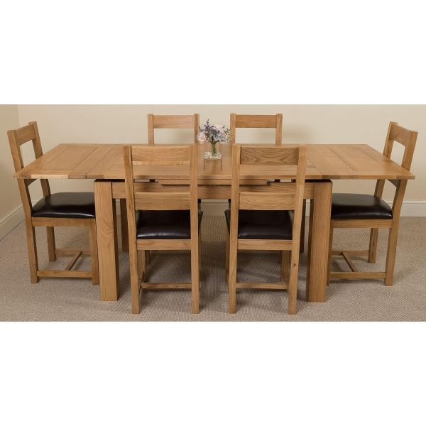 Richmond Solid Oak 140cm-220cm Extending Dining Table with 6 Lincoln Solid Oak Dining Chairs [Light Oak and Brown Leather]