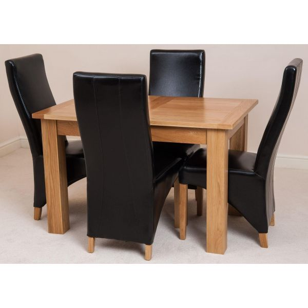 Hampton Solid Oak 120-160cm Extending Dining Table with 4 Lola Dining Chairs [Black Leather]