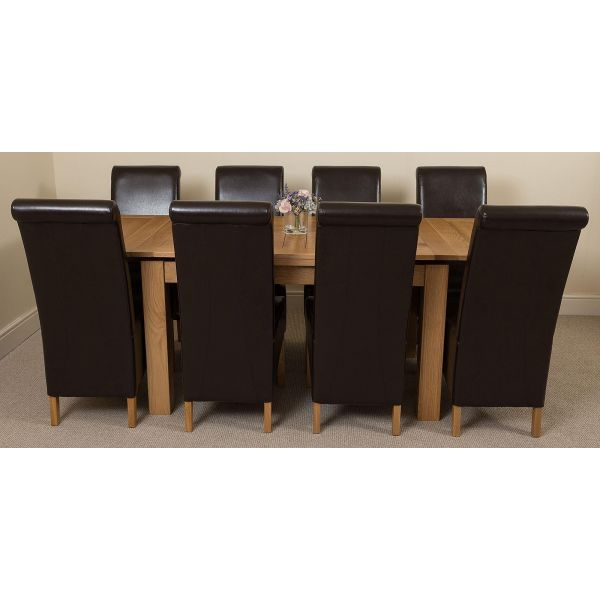 Richmond Solid Oak 140cm-220cm Extending Dining Table with 8 Montana Dining Chairs [Brown Leather]
