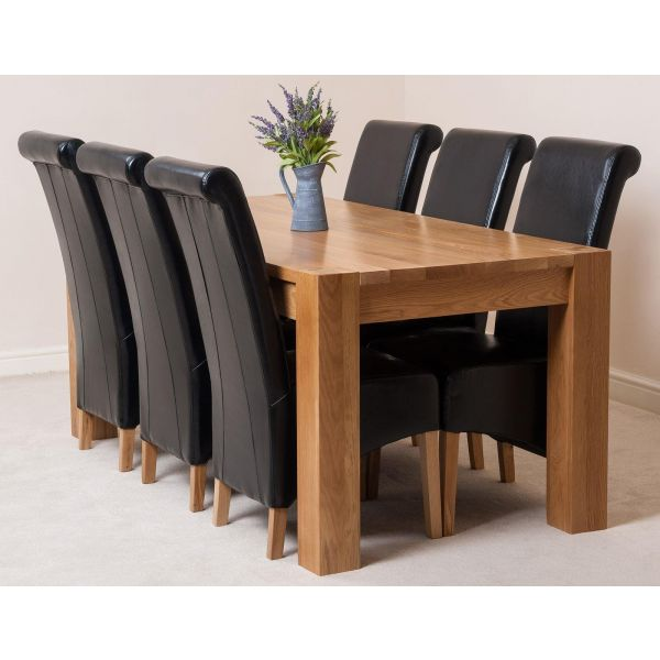 Kuba Oak Dining Table with 6 Black Montana Leather Chairs
