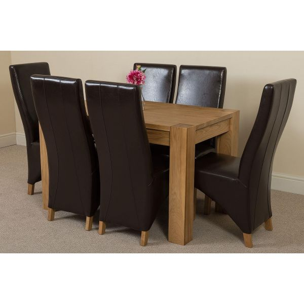 Kuba Solid Oak 125cm Dining Table with 6 Lola Dining Chairs [Brown Leather]