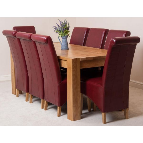 Kuba Solid Oak 180cm Dining Table with 8 Montana Dining Chairs [Burgundy Leather]