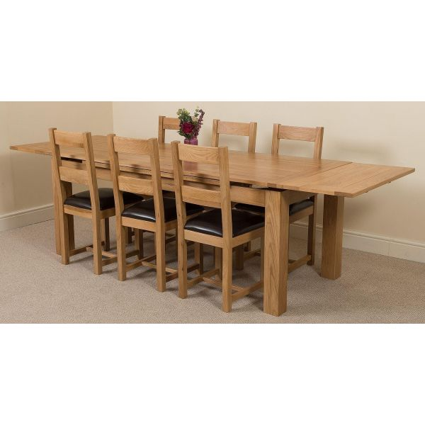 Richmond Solid Oak 200cm-280cm Extending Dining Table with 6 Lincoln Solid Oak Dining Chairs [Light Oak and Brown Leather]