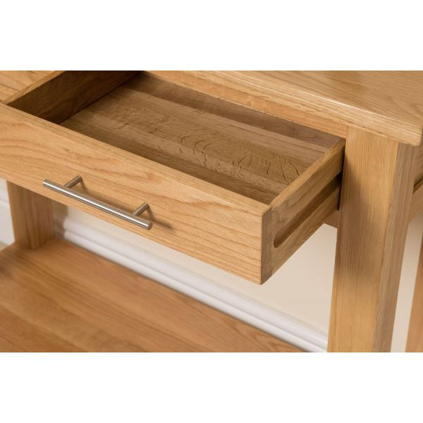 Oslo Solid Oak Console Table - Open Draw