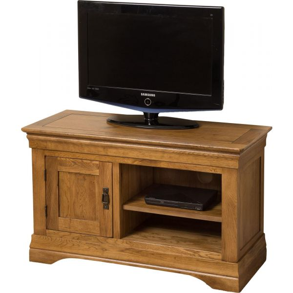 French Chateau Rustic Solid Oak Small TV Unit