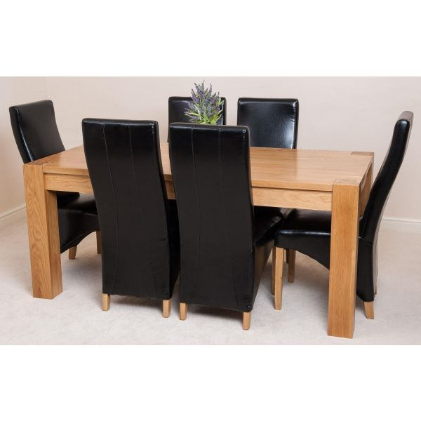 Kuba Solid Oak 180cm Dining Table with 6 Lola Dining Chairs [Black Leather]