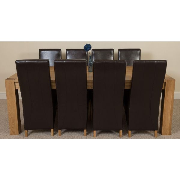Kuba Solid Oak 220cm Dining Table with 8 Lola Dining Chairs [Brown Leather]