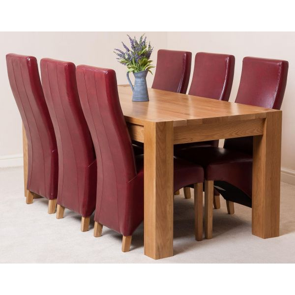 Kuba Solid Oak 180cm Dining Table with 6 Lola Dining Chairs [Burgundy Leather]