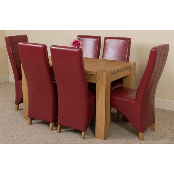 Kuba Solid Oak 125cm Dining Table with 6 Lola Dining Chairs [Burgundy Leather]