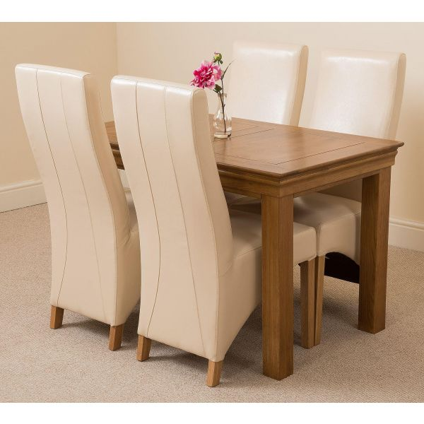 French Chateau Rustic Solid Oak 120cm Dining Table with 4 Lola Dining Chairs [Ivory Leather]