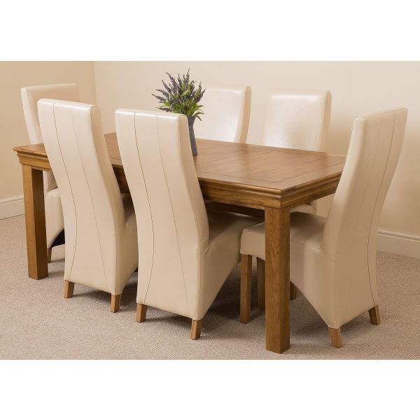 French Chateau Rustic Solid Oak 180cm Dining Table with 6 Lola Dining Chairs [Ivory Leather]