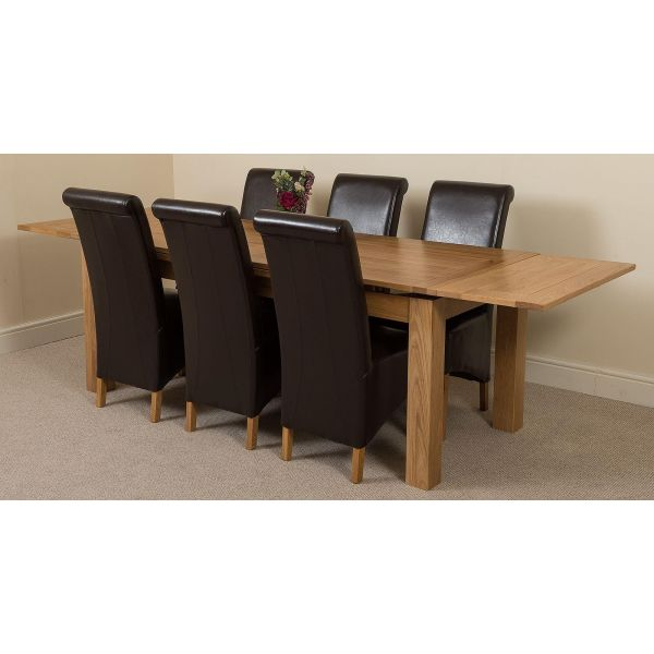 Richmond Solid Oak 200cm-280cm Extending Dining Table with 6 Montana Dining Chairs [Brown Leather]