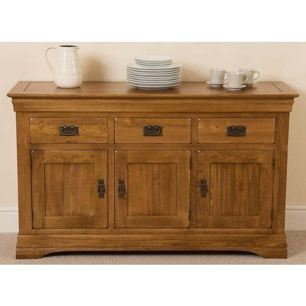 French Chateau Rustic Furniture  Solid Oak Large Sideboard