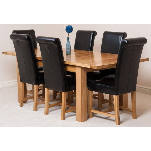 Seattle Oak Extending Dining Table and 6 Washington Black Leather Dining Chairs