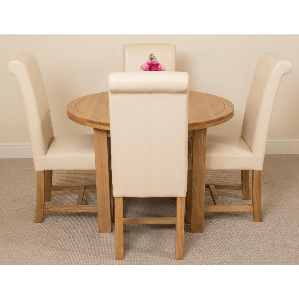 Edmonton Round Oak Dining Set with 4 Washington Ivory Leather Chairs