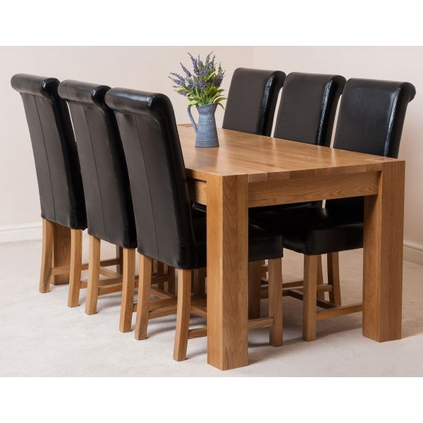 Kuba Solid Oak 180cm Dining Table with 6 Washington Dining Chairs [Black Leather]