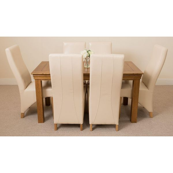 French Chateau Rustic Solid Oak 150cm Dining Table with 6 Lola Dining Chairs [Ivory Leather]