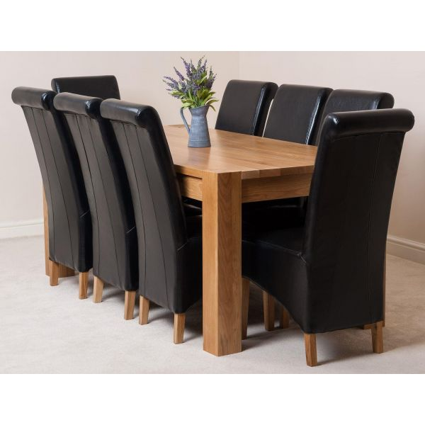 Kuba Solid Oak 180cm Dining Table with 8 Montana Dining Chairs [Black Leather]
