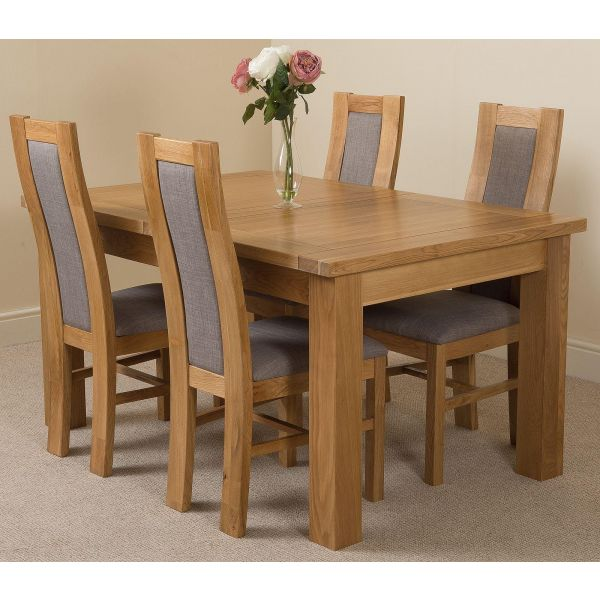 Seattle Solid Oak 150cm-210cm Extending Dining Table with 4 Stanford Solid Oak Dining Chairs [Light Oak and Grey Fabric]
