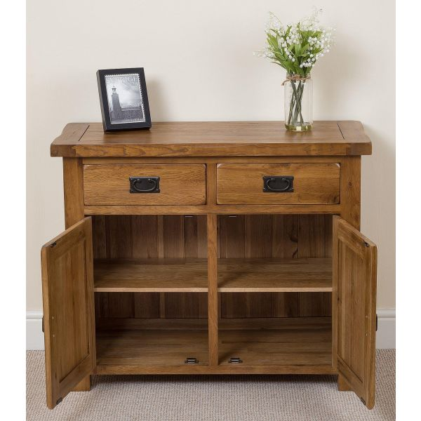 cotswold rustic small Oak sideboard open