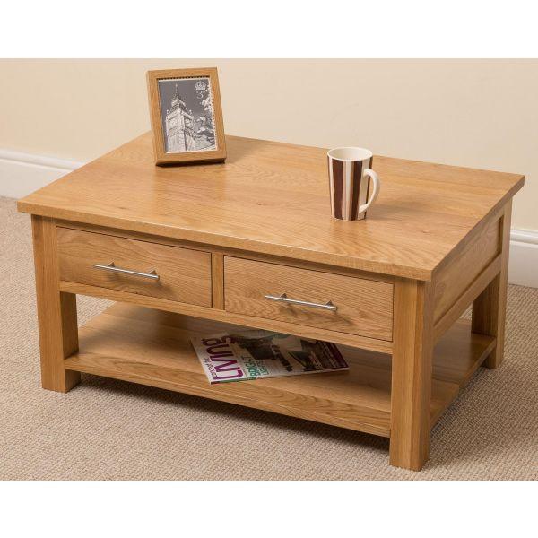 Oslo Solid Oak Coffee Table [2 Drawer]