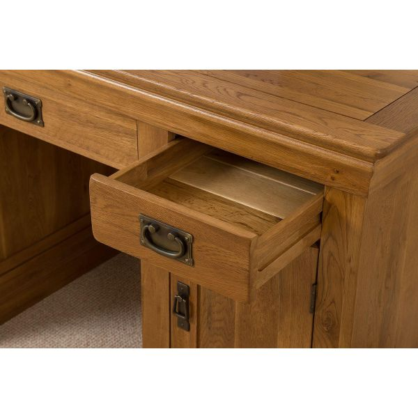 French Chateau Rustic Solid Oak Computer Desk - Drawer Space