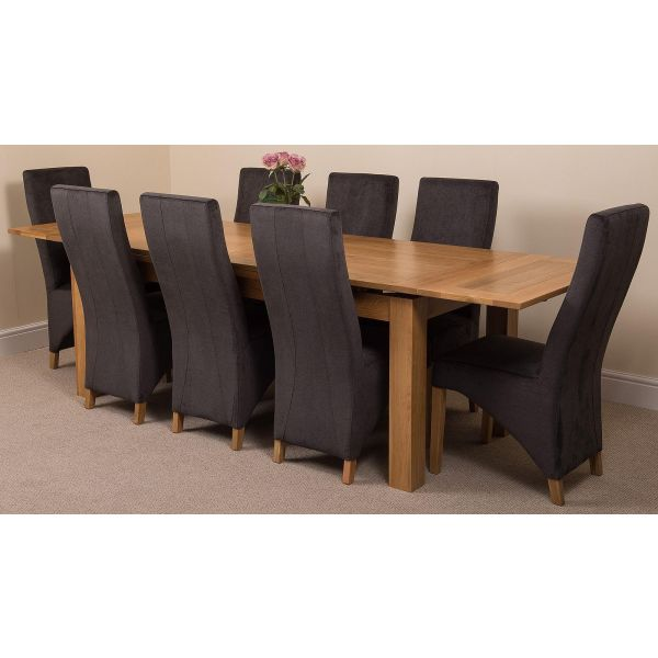 Richmond Solid Oak 200cm-280cm Extending Dining Table with 8 Lola Dining Chairs [Black Fabric]