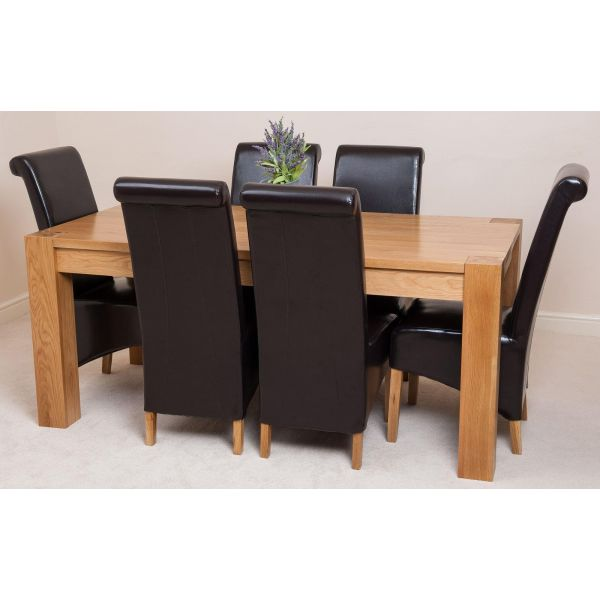Kuba Solid Oak 220cm Dining Table with 6 Montana Dining Chairs [Brown Leather]
