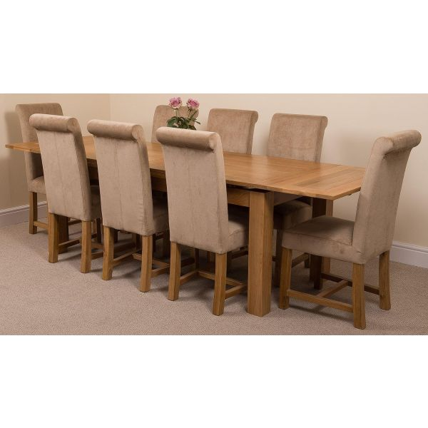 Richmond Solid Oak 200cm-280cm Extending Dining Table with 8 Washington Dining Chairs [Beige Fabric]